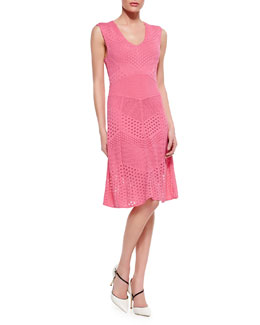 Catherine Malandrino Pointelle Knit Fit & Flare Dress