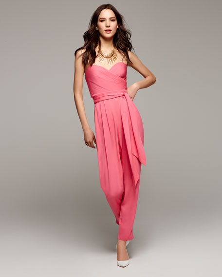 Favorites Strapless Silk Jumpsuit