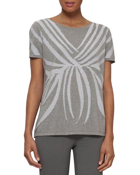 Cotton Intarsia Short-Sleeve Sweater