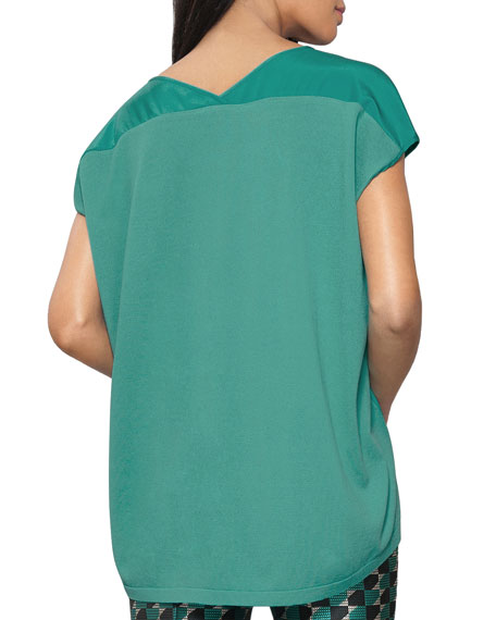 Short-Sleeve Oversized V-Neck Top
