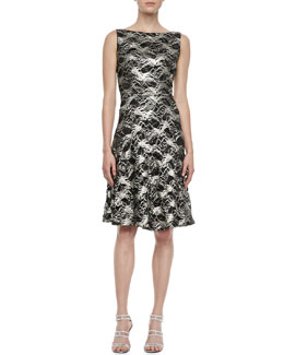 Kalinka Sleeveless Lace Metallic Cocktail Dress