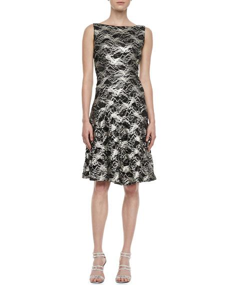 Sleeveless Lace Metallic Cocktail Dress