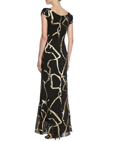 Short-Sleeve Ribbon Chiffon Gown