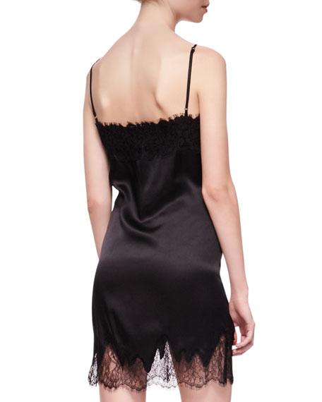 Lace-Trim Silk Camisole Dress