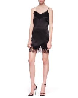 Haute Hippie Lace-Trim Silk Camisole Dress