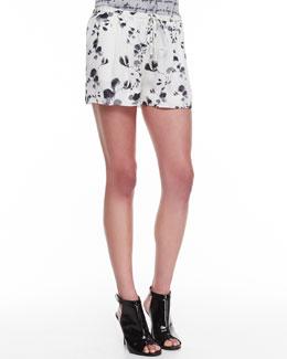 Haute Hippie Floral-Print Drawstring Shorts