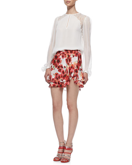 Silk Floral-Print Short Flirty Skirt