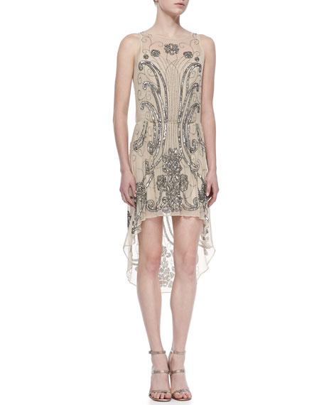 Beaded High-Low Silk Dress