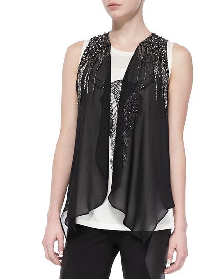 Silk Drapey Embellished Vest