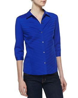Lafayette 148 New York Felicity Stretch Button-Down Blouse