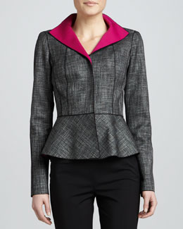 Lafayette 148 New York Amanda Convex Cloth Peplum Jacket