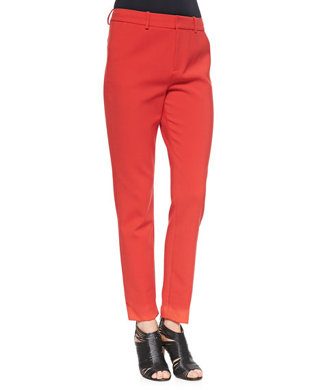 Marianne Slim Flat-Front Trousers, Masai Red
