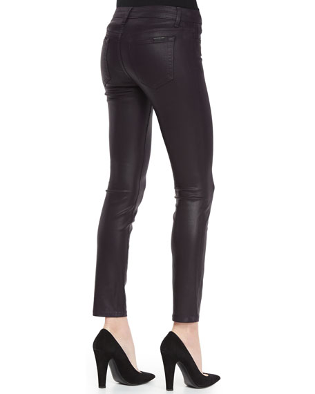 Coated Skinny Jeans, Plum