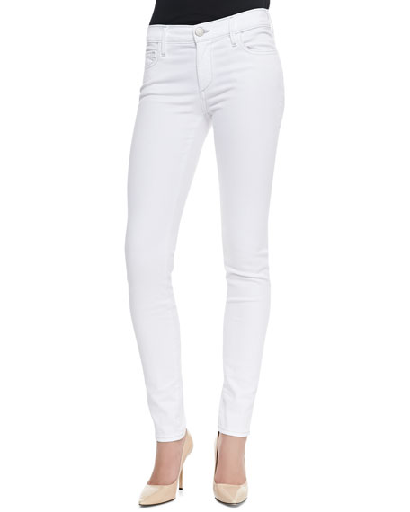 Chrissy Mid-Rise Ankle Skinny Jeans, White