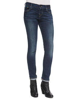 True Religion Leona Cuffed Capri Mid-Rise Rolled Jeans, Evening Shadow