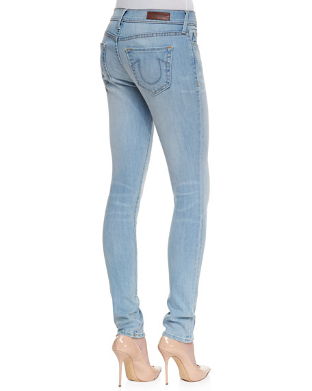Halle Mid-Rise Super Skinny Jeans, Breezy Meadow