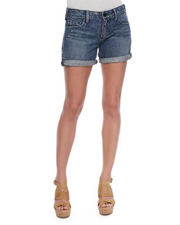 True Religion Cassie Cypress Peak Mid-Rise Rolled Shorts