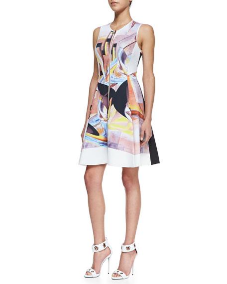 Painted Metal Printed Zip Dress