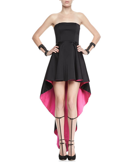 Caddington Contrast Strapless High-Low Dress