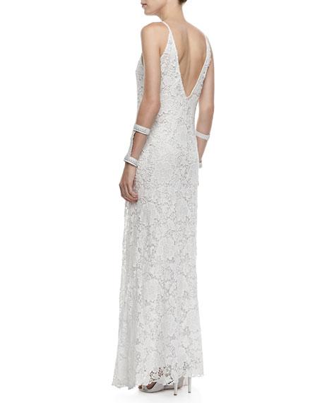 Kellis Crochet Lace V-Neck Gown