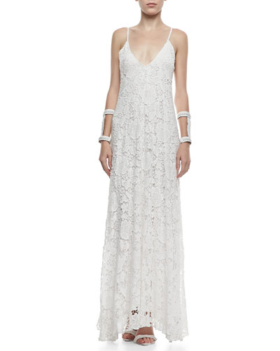 Alexis Kellis Crochet Lace V-Neck Gown
