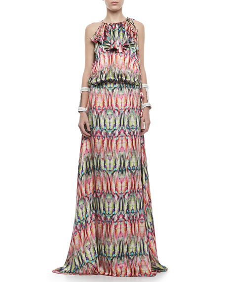 Cornelia Printed Charmeuse Maxi Dress