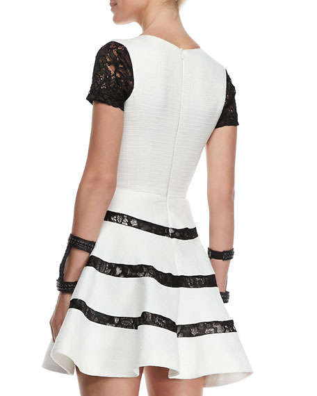 Magdalena Lace-Detail Short-Sleeve Dress