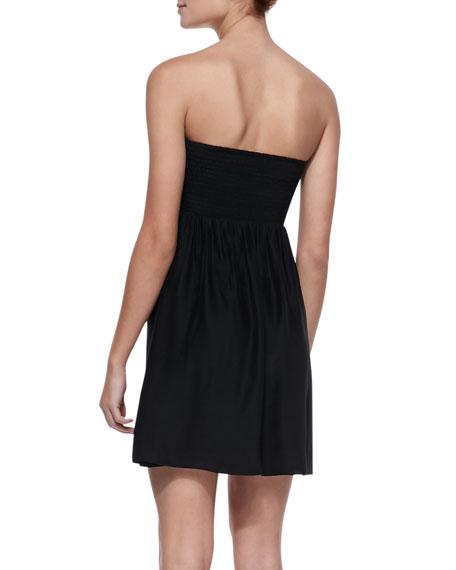 Indiana Mix-Print Strapless Dress