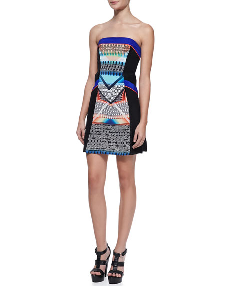 Indiana Mix-Print Strapless Dress