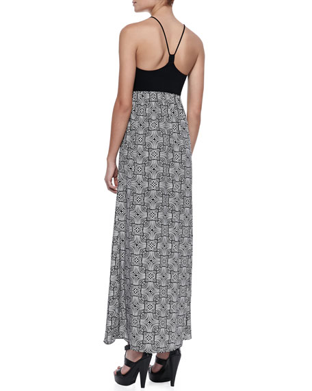 Gemma Printed Silk & Jersey Maxi Dress