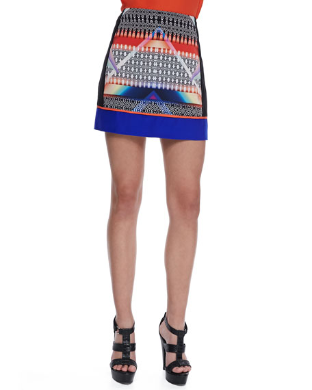 Mason Mixed-Print Miniskirt