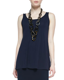 Eileen Fisher Long Silk Jersey Tunic, Midnight