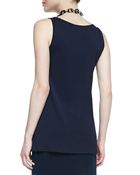 Long Silk Jersey Tunic, Midnight, Women's