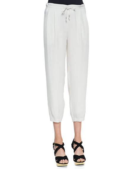 Silk Drawstring Cropped Pants