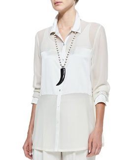 Eileen Fisher Silk Charmeuse Long Button-Front Shirt, Petite