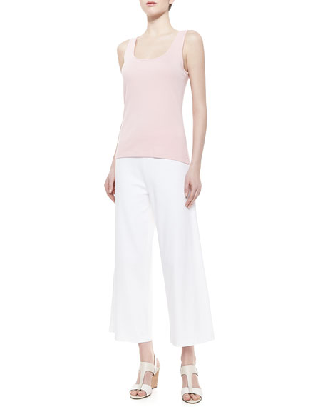 Cotton Interlock Wide-Leg Pants