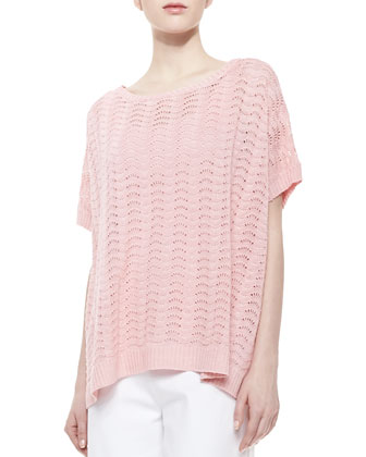 Scallop-Stitched Short-Sleeve Sweater, Women's
