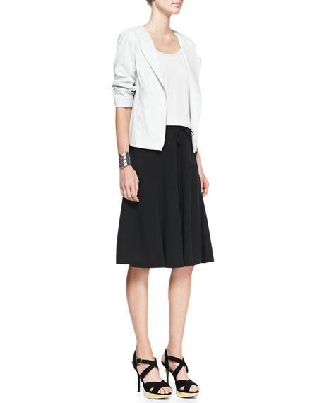 Silk Georgette Gored Knee Skirt, Petite