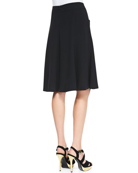 Silk Georgette Gored Knee Skirt, Petite