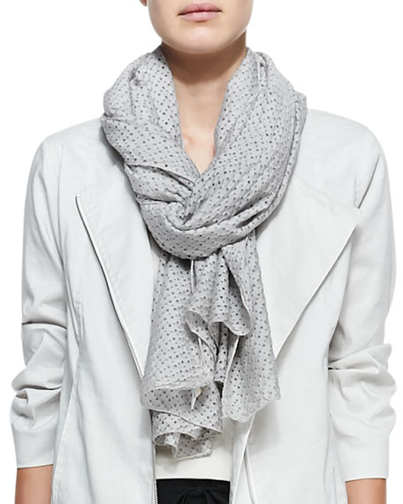 Perforated Cotton-Silk Scarf, Dark Pearl