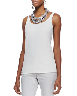 Eileen Fisher Silk Jersey Long Slim Camisole, Bone, Petite