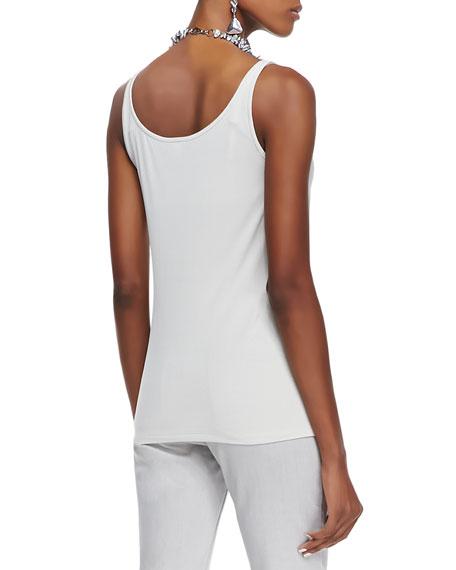 Silk Jersey Long Slim Camisole, Bone, Women's