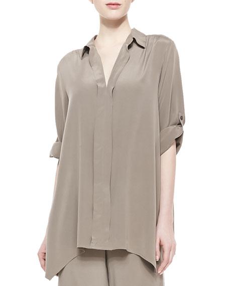 Dolman-Sleeve Silk Tunic