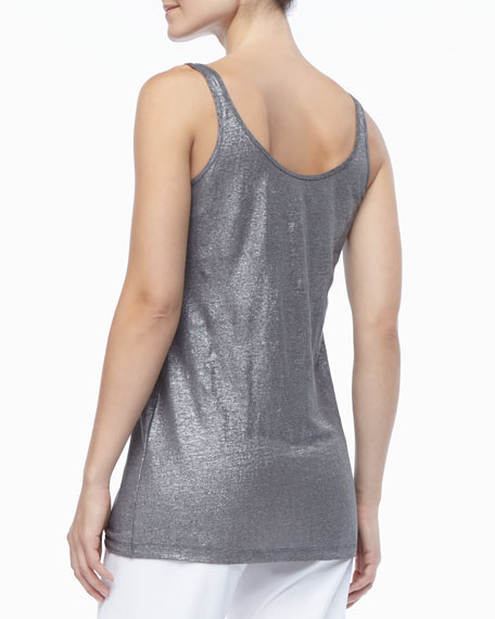 Organic Linen Jersey Shimmer Tank, Ash