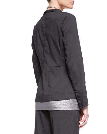 Stretch Shawl-Collar Peplum Jacket, Petite
