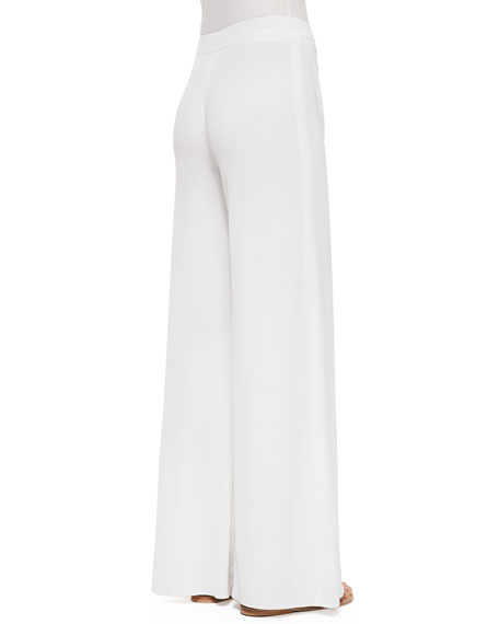 Fit & Knit Palazzo Pants, White