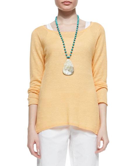 Long-Sleeve Organic Linen Knit Top, Women's