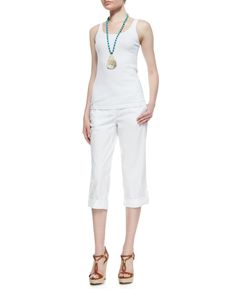 Cuffed Twill Capri Pants, White