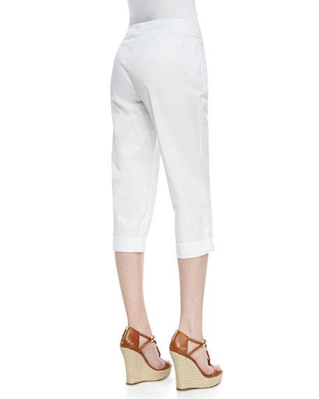 Cuffed Twill Capri Pants, White
