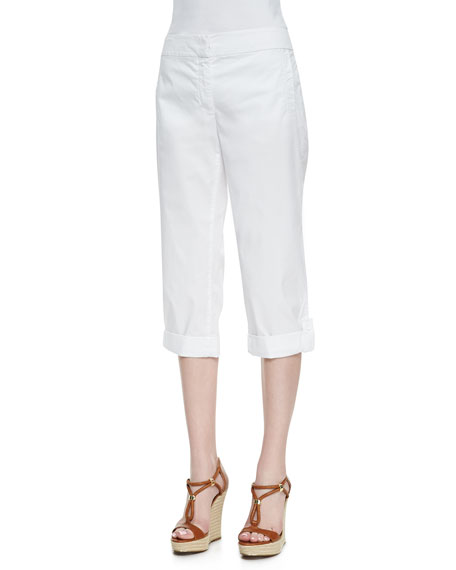 Cuffed Twill Capri Pants, White, Petite